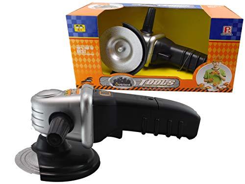 allkindathings BT401764 speelgoed Pretend Play accu kinderen grinder gereedschap met bewegingen en geluiden zwart