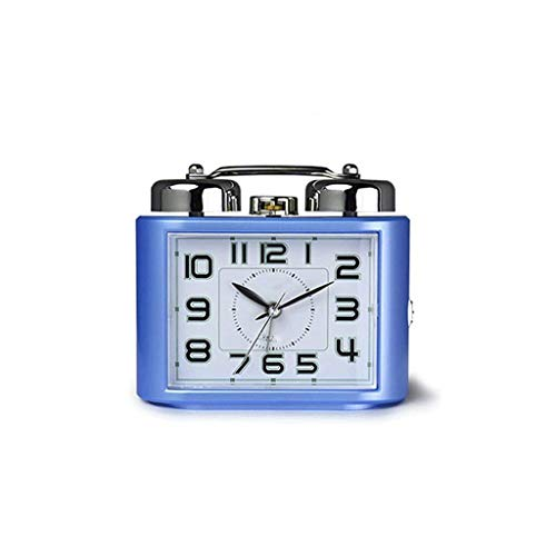 SCDZS Despertadores Que Hacen tictac for los dormitorios, Despertador Elegante del Viaje con la Siesta, silencioso ningún tictac Junto a la Cama (Color : Blue)