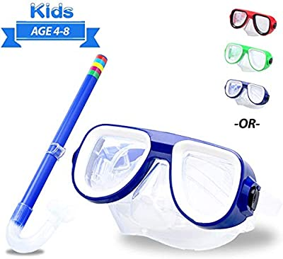Kids Snorkel Set Junior Snorkeling Gear Kids Silicone Scuba Diving Snorkeling Glasses Set Semi-Dry Snorkel Equipment for Boys and Girls Age from 4-8 Years Old