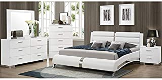 BOWERY HILL 4 Piece Faux Leather Queen Bedroom Set in White