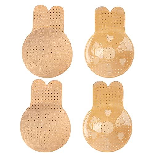 Runmeihe 2 pares de fundas para pezones adhesivo reutilizable Sujetador invisible Pastillas...