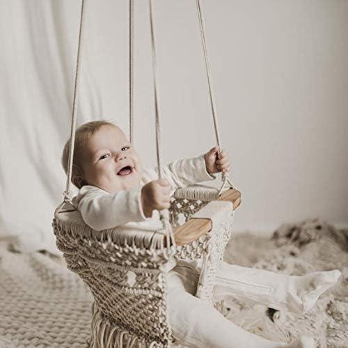Handmde Macrame Swing Boho Baby Outdoor High Back Baby Gift Nursery Decor with Beautiful Tassel product image