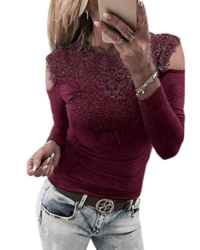 YOINS Sexy Schulterfrei Oberteil Damen Langarmshirt Bluse für Damen Dirndlbluse Spitzenbluse Mode Patchwork Tshirt Bluseshirt