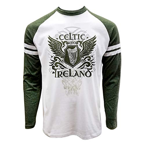 Celtic Nation Long Sleeved T-Shirt with Harp Design, Green and White Colour