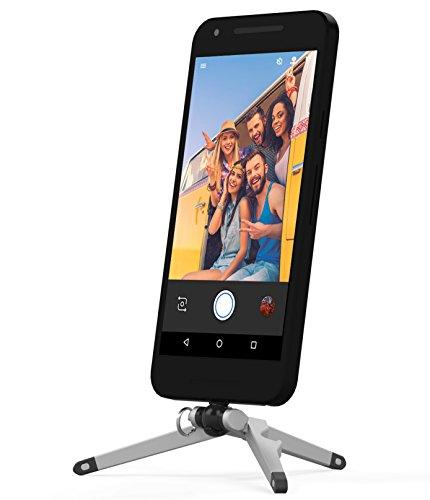 Kenu Stance Kompaktstativ für Smartphones mit USB-C Anschluss z.B. Google, Motorola oder Sony - silber/schwarz (Klein & kompakt (34g), Horizontal & Vertikal, Kugelgelenk, Flaschenöffner) - ST4-KK-NA