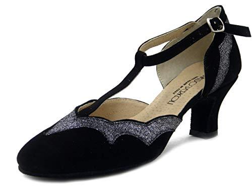 OSVALDO PERICOLI, Damen Tanzschuhe Charleston aus Wildleder schwarz und Glitterstoff Silber, Absatzhöhe 5 cm, 315, Schwarz - Schwarz - Größe: 40 EU