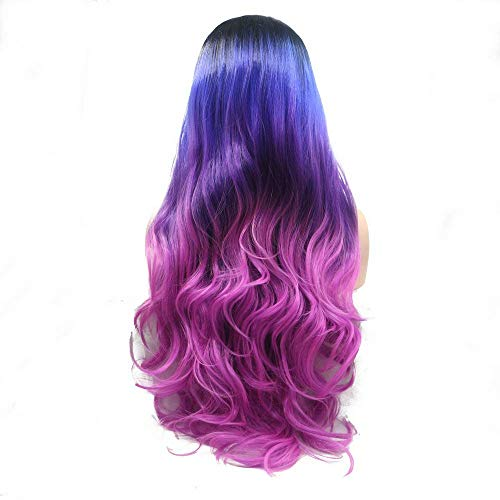 XINGYU Perruque de sirène Racine Noire à Bleu/Violet/Rose Rouge Perruques synthétiques Avant de Lacet pour Les Femmes Body Wave Style Perruque sans Fa