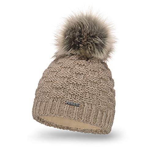 PaMaMi Ladies Winter Hat Caps Beanie con Pom Pom Skin-Friendly Sport Invernali Sci Foderato in Pile 18577
