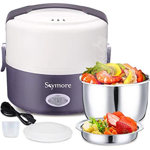 Skymore Elektrische Lunchbox, Mini Reiskocher, Elektrischer Speisenwärmer, Brotdose Kostwärmer, Tragbare Heizung Mahlzeit Container Bento Heizung