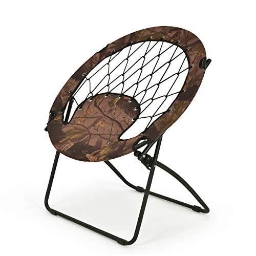 Goplus Bungee Chair Outdoor Camping Gaming Hiking Garden Patio Portable Steel Folding Bunjo Dish Chairs (Autumn Brown)