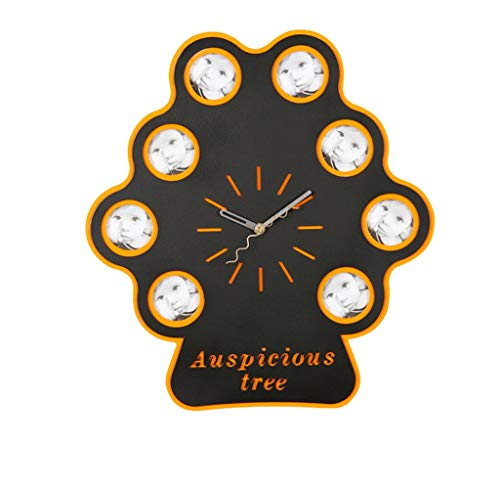 [remise] Happy Tree Art Cadre photo en bois Horloge Muet Chambre Album Album Arbre Horloge Murale Salon Horloge