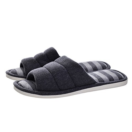 Memorygou Cozy Womens/Mens Home Slippers, Memory Foam Casual Indoor Outdoor Shoes with Open-Toe, Grey, US 9-10