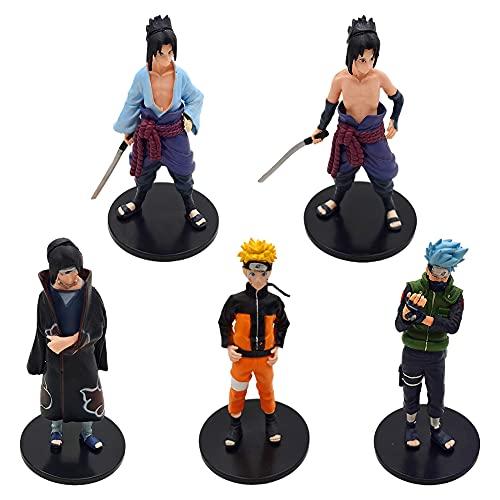 Naruto Mini Figuras, 5pcs Naruto Mini Juego de Figuras, Naruto Happy Birthday Party Supplies Decoraciones, Niños Baby Shower Fiesta de cumpleaños Pastel Decoración Suministros