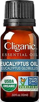 Cliganic USDA Organic Eucalyptus Essential Oil 100% Pure   Natural Aromatherapy Oil for Diffuser Steam Distilled   Non-GMO Verified