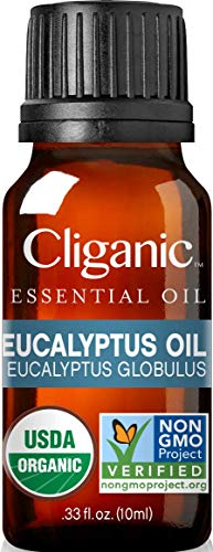 Cliganic USDA Organic Eucalyptus Essential Oil, 100% Pure | Natural Aromatherapy Oil for Diffuser Steam Distilled | Non-GMO Verified