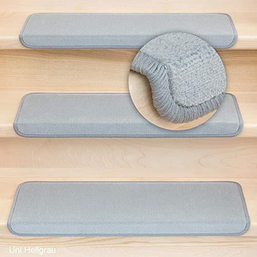 Kettelservice-Metzker® Stufenmatten Vorwerk Uni Einzeln und Sparset's Hellgrau 14 Stück Rechteckig