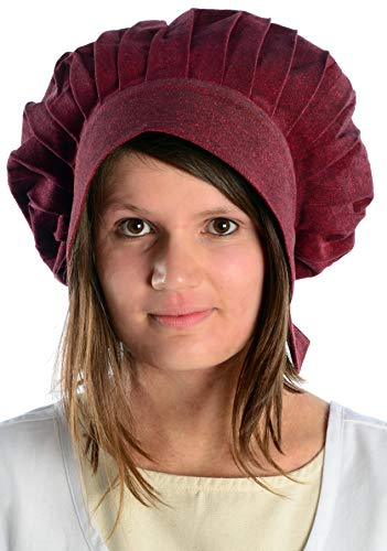 HEMAD Damen Mittelalter Haube mit Schild Baumwolle rot