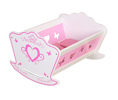 Gamez Galore Pink & White Wooden Dolls Rocking Cradle/Cot/Bed