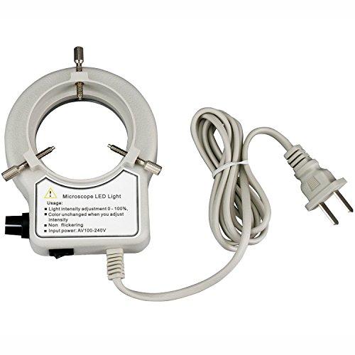 AmScope LED-56S-ZK 56 Microscope Ring Light LED Ring Light Illuminator with Dimmer for Stereo Microscope