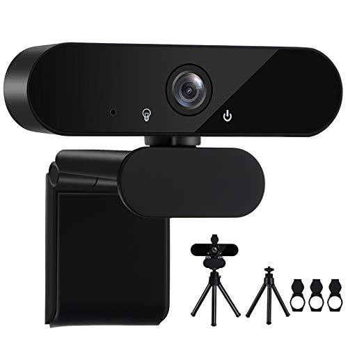 GuKKK Webcam 1080P Full HD con Microfono Stereo, USB PC Portatile Desktop Videocamera, per Videochiamate, Studio, Conferenza, Gioca a Giochi e Lavoro a Casa, Compatibile con Windows, Mac e Android