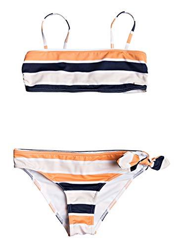 Roxy Made For Conjunto De Bikini Bandeau para Chicas 8-16, Niñas, Cadmium Orange Pong Stripes s, 12