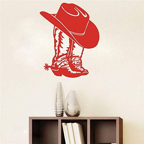 Cowboy Dames Laarzen en Hoed Muursticker Sticker Denim Cowboylaarzen Vinyl Decoration56cmx45