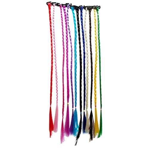 Frcolor 12pcs extensions de cheveux tressés à la main colorées en nylon faux morceaux de cheveux avec clip