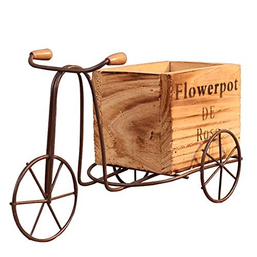 JSIHENA Bicicleta Soporte de Flores Hierro Forjado Decoración, Jardín al Aire Libre Patio Macetas de Jardín, Diseño de Bicicletas de Madera, Ornamento para el Hogar,Natural