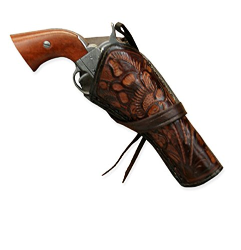 Historical Emporium Men's Right Hand Tooled Leather Western Cross Draw Holster Two-Tone Brown