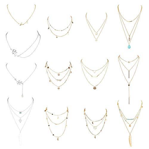 YADOCA 8-13 Pcs Collier Multirang Femme Colliers Pendentif Lune Turquoise Etoile Perle Mode Boho Long Sexy Ensemble Collier pour Femme Or/Argent