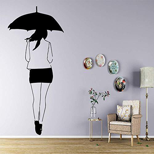 Moderne paraplu Meisje Muursticker Huisdecoratie Waterdichte Decals Kamers Home Decoratie Naklejki Vinilo Decorativo Adesivi M 42 * 96cm