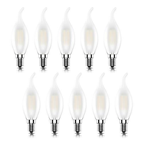 Kcwiau 10 pezz Lampadina Filamento LED E14,Non-Dimmerabile,Forma di Fiamma,Vetro Smerigliato,4W Equivalenti a 40W,Luce Bianco Caldo 2700K,CRI80,AC 220[Classe di efficienza energetica A+]