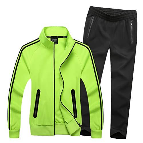 WanYangg Damen tracksuits sport sets full zip sport setzt sweatshirt-jacke hosen-team class paar sport-gymnastik-anzug xxl w-grün fluoreszierend