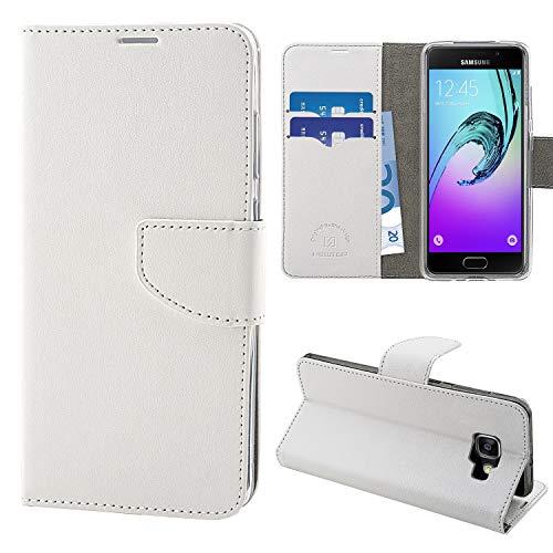 N NEWTOP Cover Compatibile per Samsung Galaxy A3 2016, HQ Lateral Custodia Libro Flip Chiusura Magnetica Portafoglio Simil Pelle Stand (Bianca)