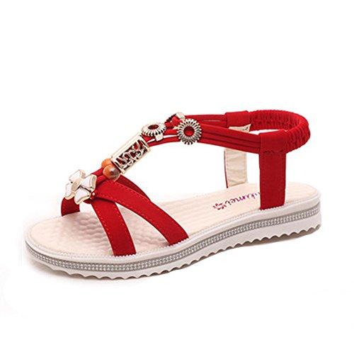 Minetom Mujer Verano Sandalias Dulce Bohemia Ocio Plana Zapatos Abalorios Zapatos Chancletas...