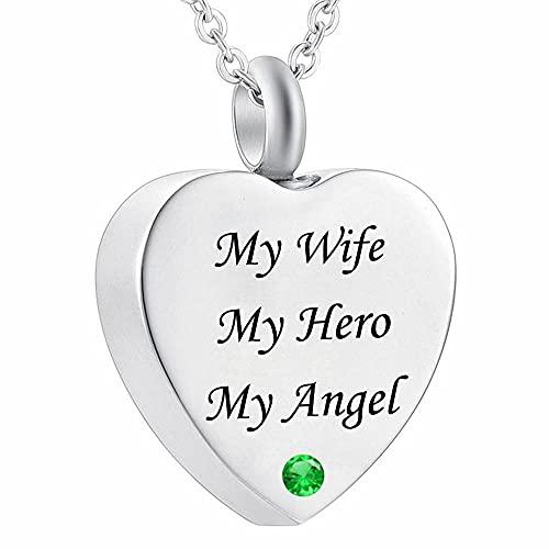 UGBJ Colgantes para Cenizas My Wife my Hero my Angel Fire Burial Jewelry Memorial urne Necklace Pendant urna Cenizas Colgante Memorial
