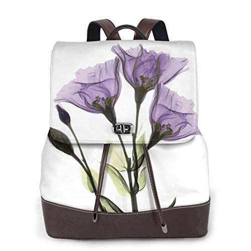 Damen Leder-Rucksack, schöner lila Blume, Giclée-Druck