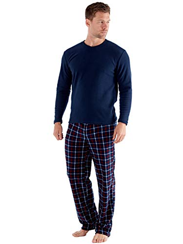 SaneShoppe Herren Thermal Top, Marine Check Polar Fleece Hose Warm Pyjama Sets-XL