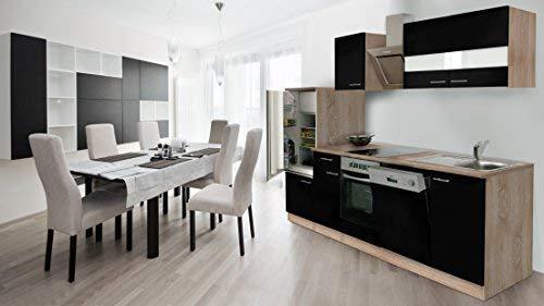respekta inbouw keuken kitchenette 280 cm eiken Sonoma ruw gezaagd front zwart incl. designer schuine kap