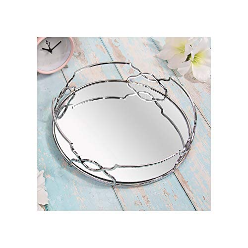 Silver Art Deco Round Circle Mirror Tray Plate 26cm