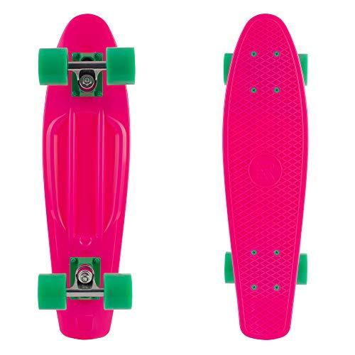 "Retrospec Quip Skateboard 22.5"" Classic Plastic Mini Cruiser Complete Skateboard w/ABEC 7 Bearings, Watermelon (3382)"