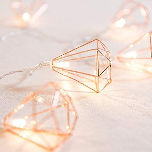 nulala led lichterketten, vintage lampenschirm lichterketten, roségold metall polygon laternenkäfig geometrische lichter batteriebetrieben für hausgarten garten hochzeit