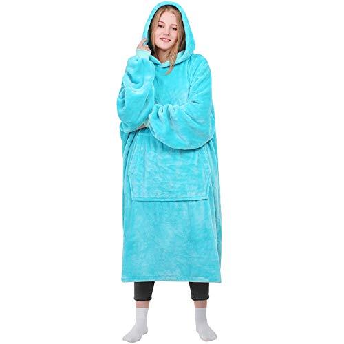 Kpblis Wearable Blanket, Flannel Blanket Hoodie with Large Front Pocket and Sleeves, Giant Cozy Blanket Sweatshirt for Adults, Men, Women, Teens (Cyan)