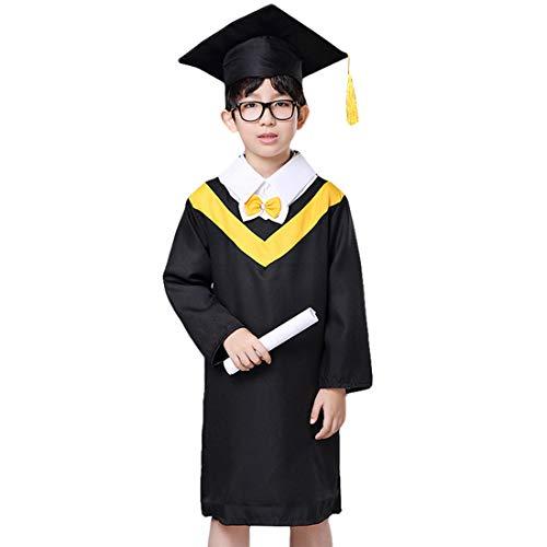 HengST Birrete de Graduación Infantil y Primaria Bata de Graduación para Niños Kindergarten Graduación Toga y Birrete con Set Amarillo 100