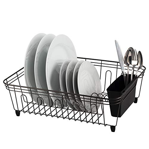 Real Home Innovations Deluxe Large Dish Drainer, Black Chrome