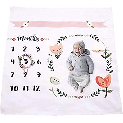 Baby Monthly Milestone Blanket | Throw for Infant & Babies 0-3 Months, 3-6, 6-9, 9-12 Photography Backdrop Photo Prop for Newborn Boy & Girl - New Mom Baby Shower Gift- Blanket Only from Upside Up