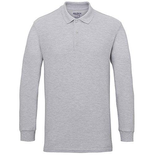 Gildan - Polo de manga larga algodón pique doble hombre caballero (3XL/Gris Sport)