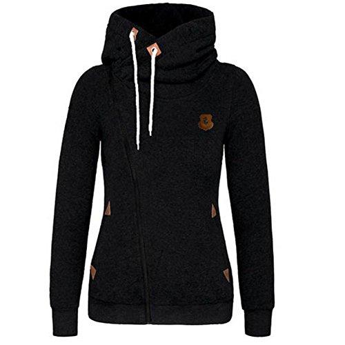 Newbestyle Women Spring and Autumn Oblique Zipper Hoodies Sweatshirt Coat, Black, L
