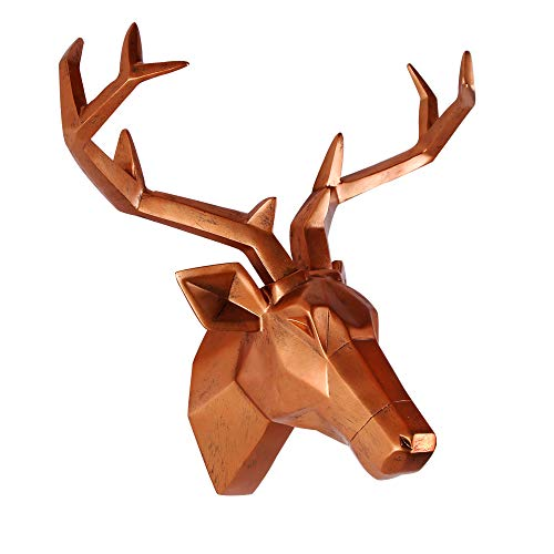 Deer Head Wall Decor Geometrical Antique Copper Deer Antler Sculpture Faux Resin Animal Head Statue...