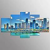 GMSM Enmarcados para Decoración de Pared Paisaje del Centro de Miami Florida City 5 Piezas Pictures Posters Livin Room Paintings Modular